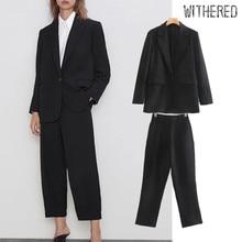 Withered england vintage black blazer feminino blazer women