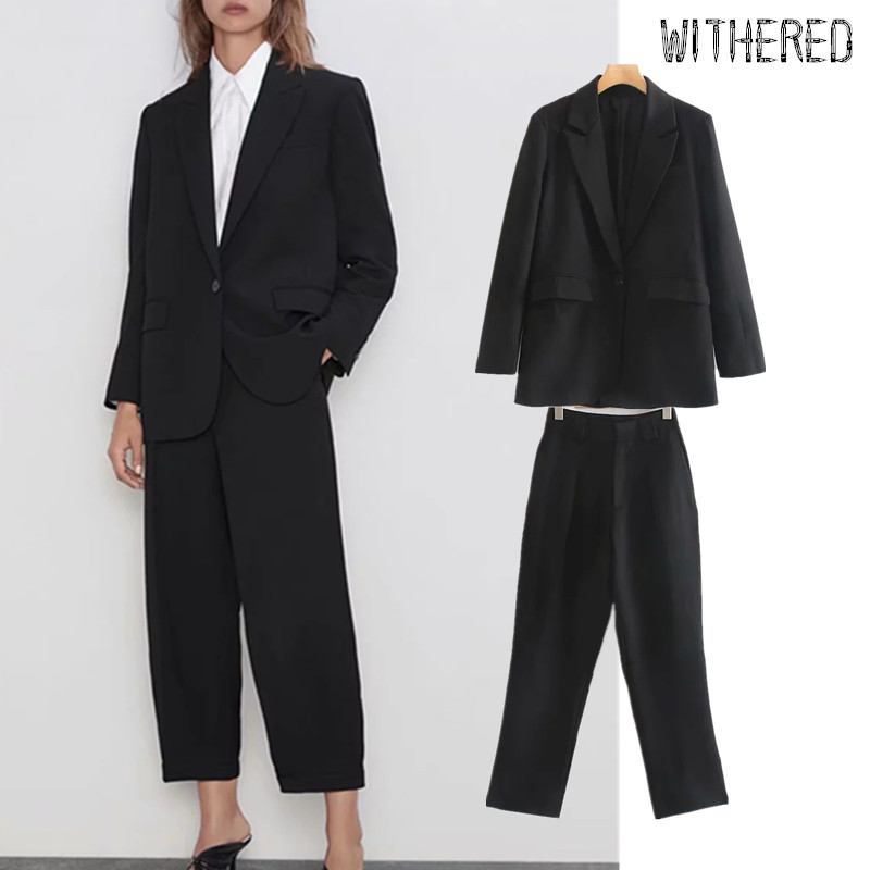 Withered England Vintage Black Blazer Feminino Blazer Women Blazer Mujer 2019 And Harem Suits Pants Trousers Women 2 Pieces Set