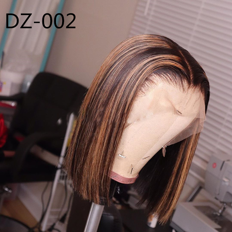 Ombre Honey Color With Baby Hair Lace Front Bob Wigs Straight Brazilian Remy Human Hair
