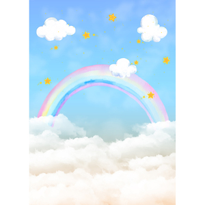Image 2 - Funnytree blue sky photography baby shower backdrop cloud party decor Rainbow newborn birthday background photo studio photozone