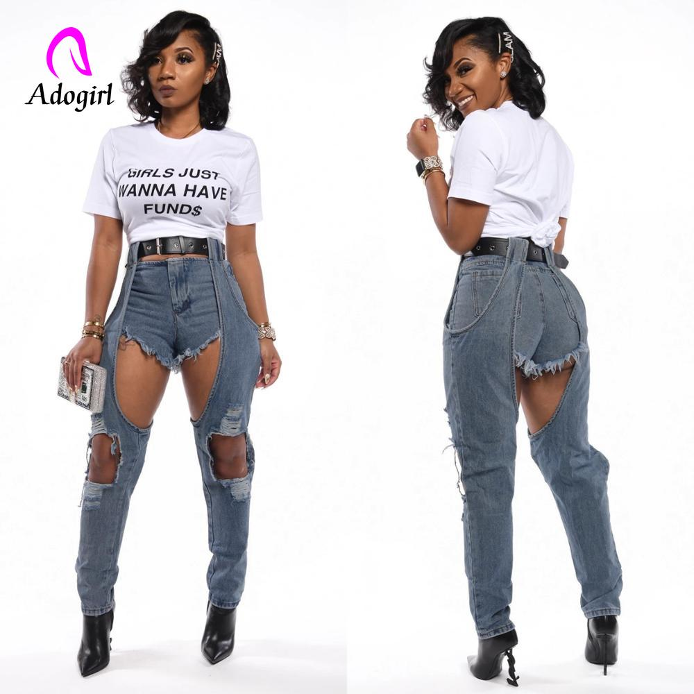 Distressed Denim Jeans Blue Sexy Womens With Holes 2020 New Spring Streetwear High Waist Pencil Pants Bottoms Wash Jean Trousers
