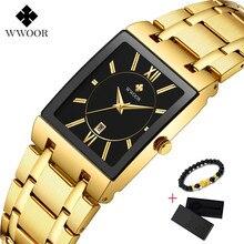 Square Watch Men Luxury WWOOR Stainless Steel Mens Wristwatch Calendar Mans Wrist Watches Waterproof Sports Casual Watches 2019
