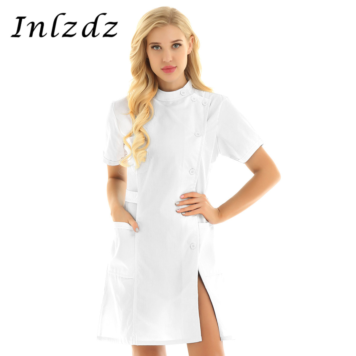Women's Medical Uniform Mandarin Collar Slanting Button Front Hospital Nurse Doctors Scrub Lab Coat Clinic Work Uniform Dress