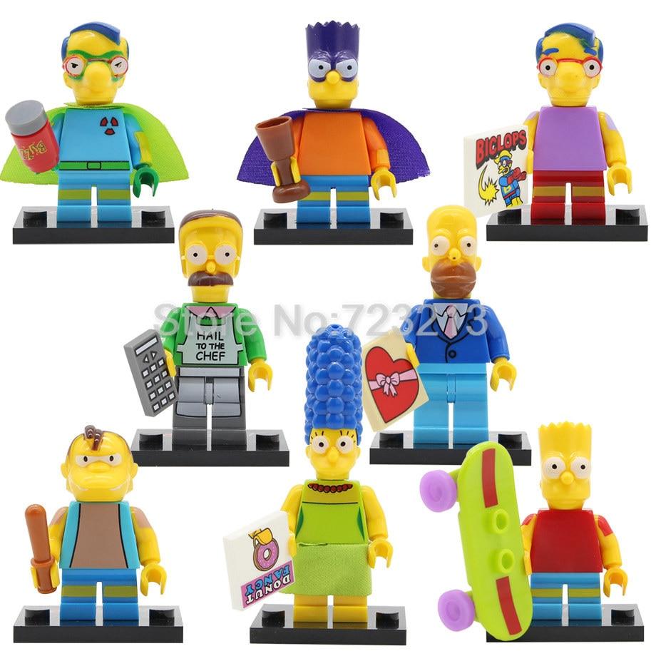 Single Sale Catoon Figure Bart Batman Marge Pronton Milhouse Homer Nelson Flanders Building Blocks Kits Toys