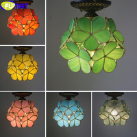 FUMAT Tiffany Style Flower Petal Ceiling Lamp Stained Glass Red Yellow Pink Green White Color Handcraft Arts Home Decor Retro