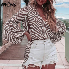 Aproms Sexy V Neck Zebra Striped Women Blouse Shirt Elegant Lace Up Lantern Sleeve Female Top High Street Fashion Blouses 2019