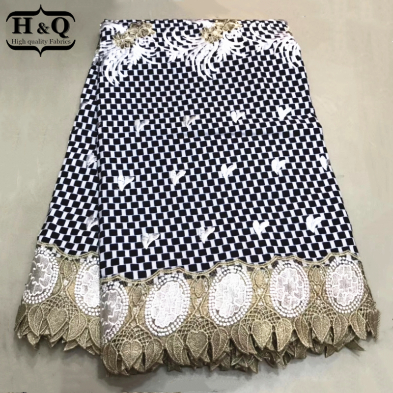 H Q High Quality African wax Lace Fabric 6 Yards pcs Prints Fabric With Embroidery Nigerian