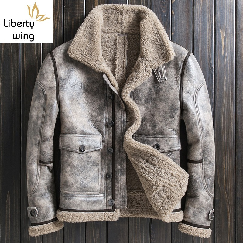 New Mens Luxury Real Fur Lining Natural Shearling Flying Suit Vintage Winter Thick Warm Coat Genuine Leather Jacket