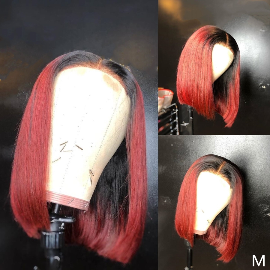 Ombre 13*4 Lace Front Human Hair Wig Two Tone Remy Hair Red Short Bob Wigs With Baby Hair 13X4 BOB Wig