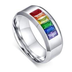 Кольцо ЛГБТ для мужчин и женщин, браслет из нержавеющей стали с радужными кристаллами для геев и лесбиянок, кольцо унисекс, размеры от 5 до 13