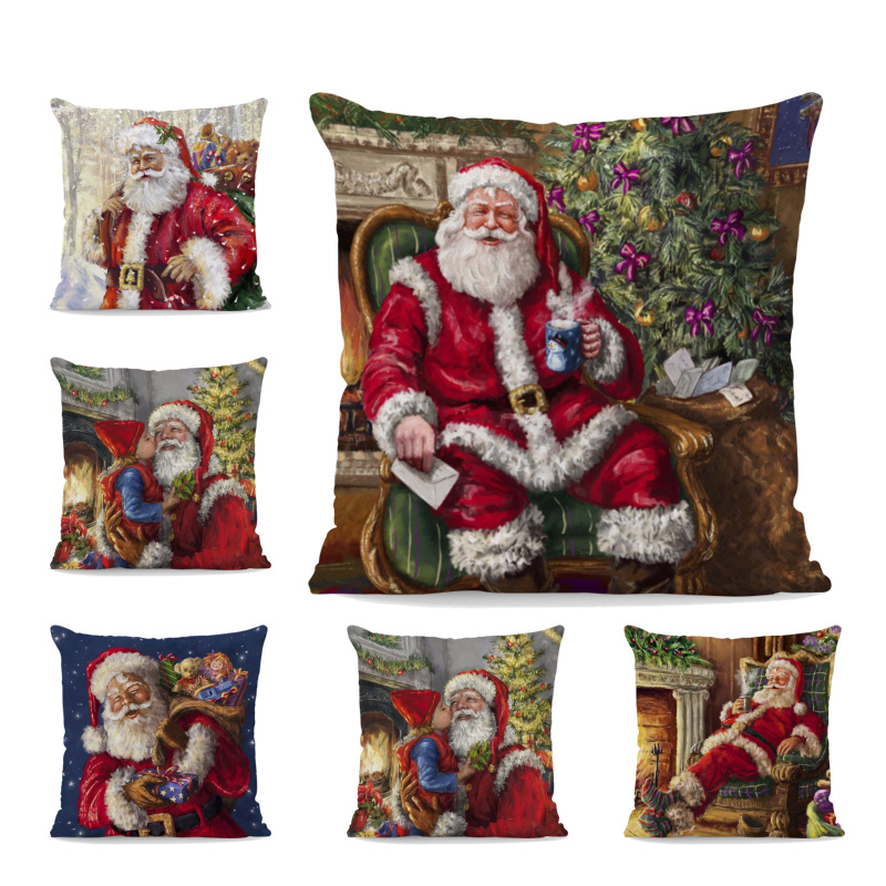 Cute Santa Claus Print Cushion Cover Animal And Christmas Gift Cartoon 18Inch Peach Skin Decoration Room Set Holiday Pillow Case