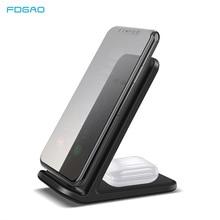 FDGAO Base de carga 2 en 1 para iPhone, estación de carga de 15W, para iPhone 11 XS XR X 8 Airpods Pro Qi, soporte de cargador inalámbrico rápido para Samsung S20 S10 S9