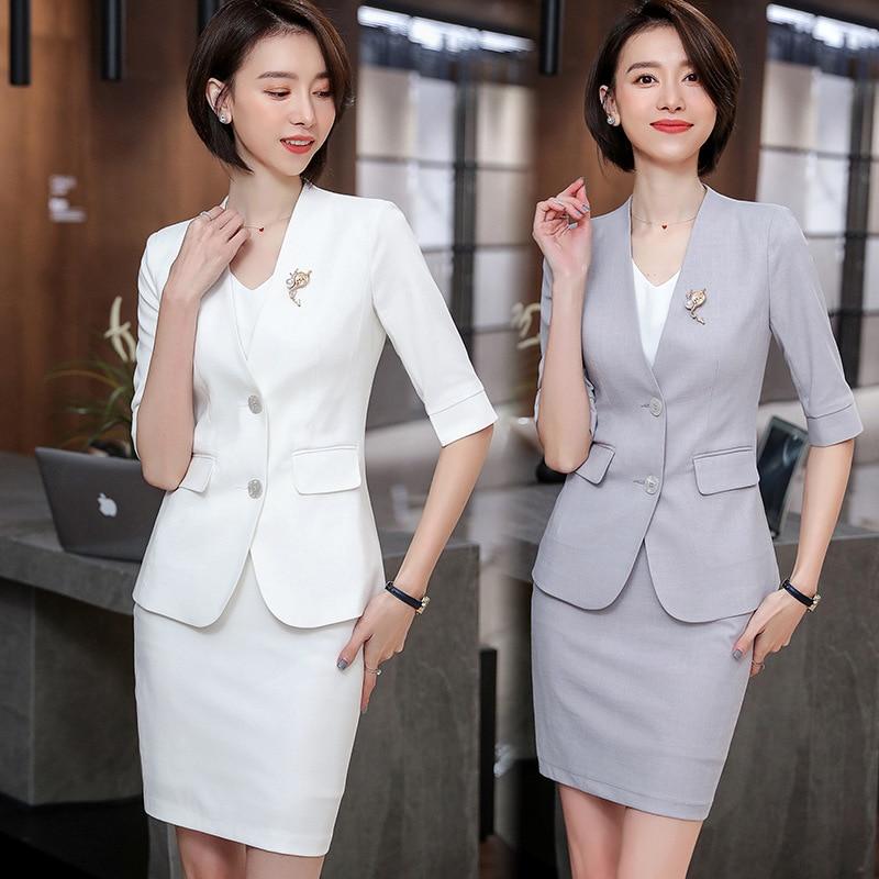 Women's Elegant Formal Business OL Spring Summer 3/4 Sleeve Slim Blazer And Skirt Suit Office Ladies Work Wear Blazers Jacket