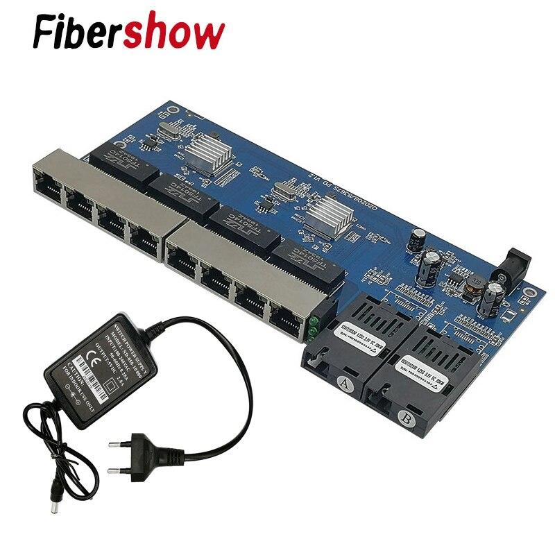 Image 4 - Gigabit Ethernet switch Fiber Optical Media Converter PCBA 8 RJ45  UTP and 2 SC fiber Port 10/100/1000M  Board PCB-in Fiber Optic  Equipments from Cellphones
