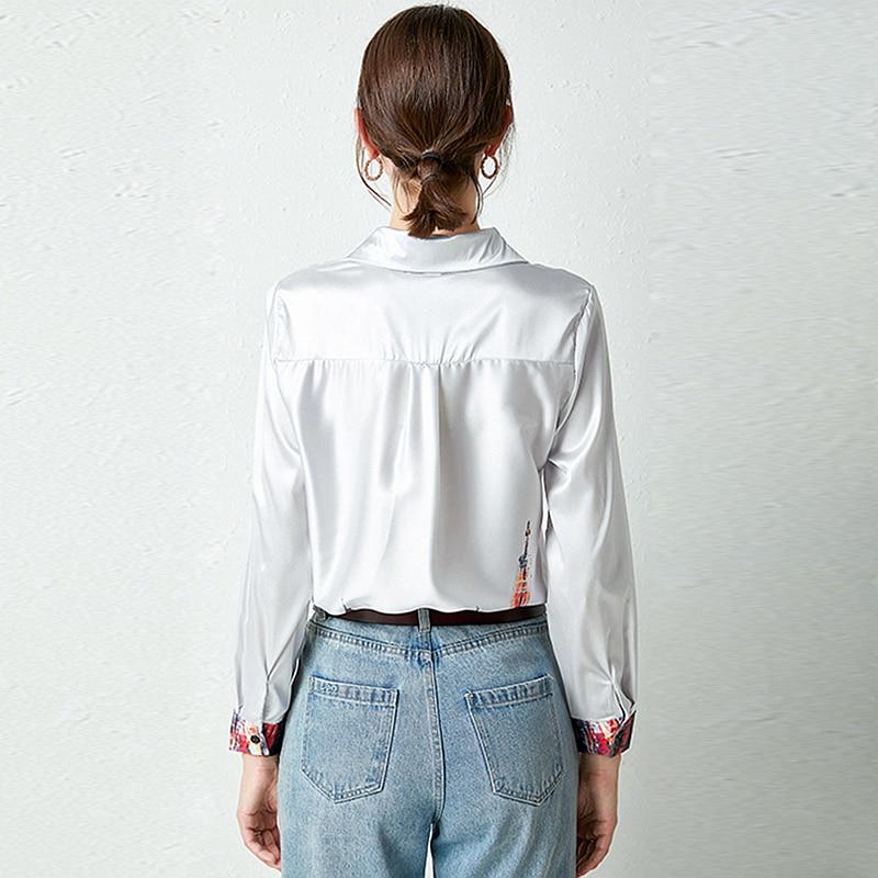 Купить блузка женская с отложным воротником и длинным рукавом 100%