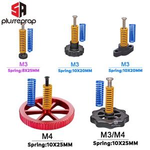 4PCS M3/M4 Screws Nuts Heat Bed Leveling Spring Knob Parts 3D Printers Print Platform Screw Calibration Accessories(China)