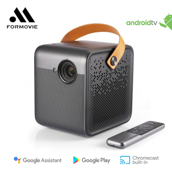 Formovie Dice DLP Mini Projector 1080P Full HD Home Theater 700ANSI Lumens with 16000 mAh Battery Base on Google TV Beame