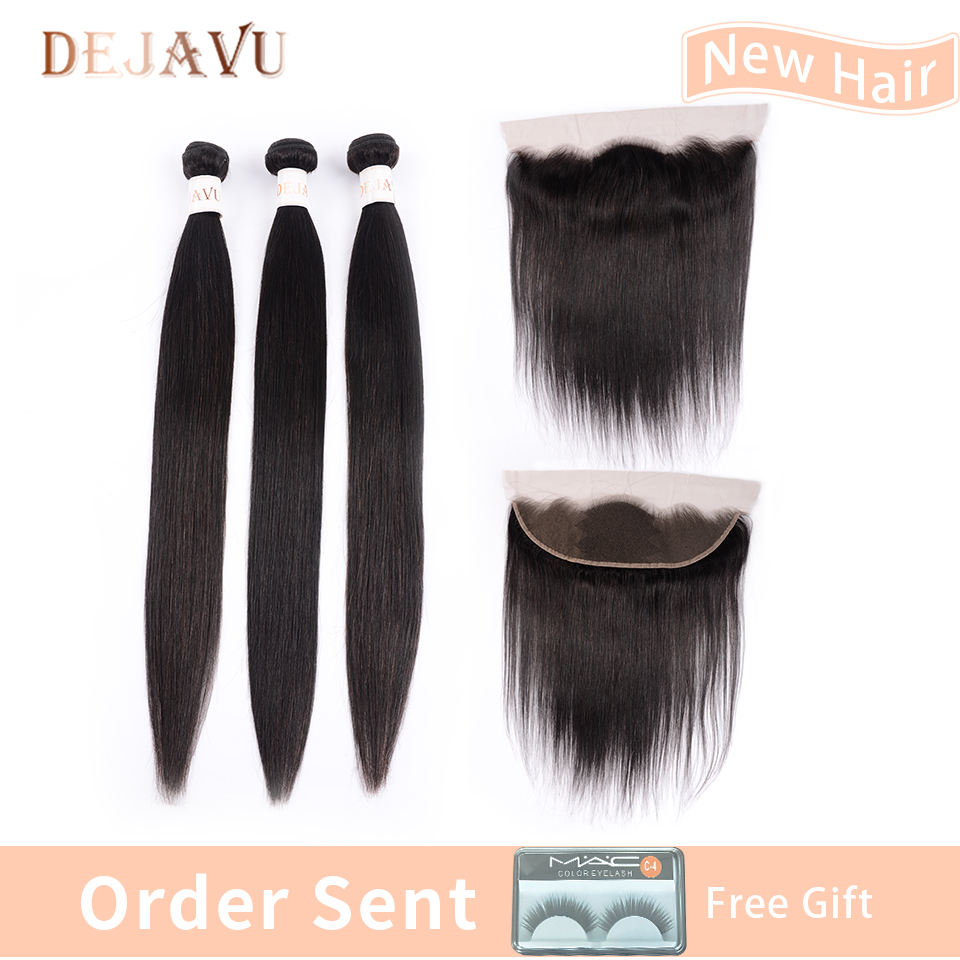 Dejavu 13x4 Frontal With 3 Bundles Peruvian Straight 100% Human Hair Bundles With Closure Non Remy Hair Ear To Ear Lace Frontal