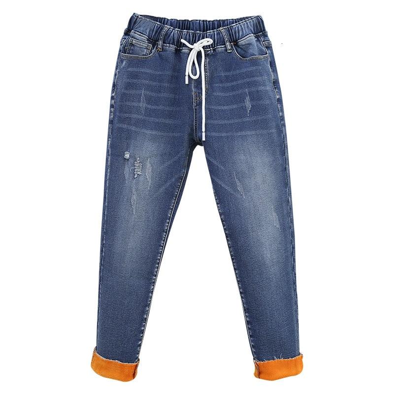 Women's Velvet Jeans Woman Winter Boyfriend Warm Thick Denim Pants Casual High Waist Jeans Fleece Lined Jeans Trousers Plus Size