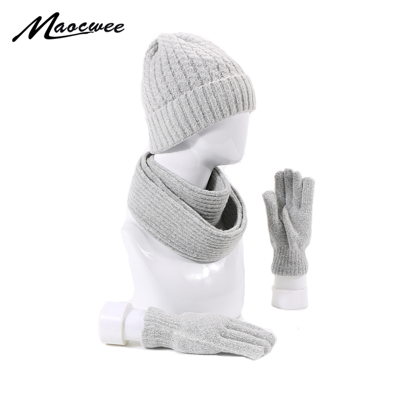 Hat Scarf Gloves Set For Women Girl Winter Warm Beanies Hat For Girl  Scarf Pompoms Winter Hats Knitted Hats Scarf 3 Pieces Fash