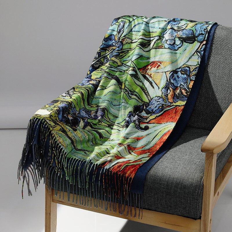 Spring Designer New Women Winter Cashmere Scarf Shawl Digital Painted Shawl Van Gogh Oil Painting Pashmina Ladies Blanket Scarf