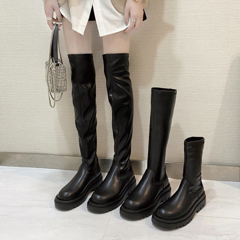 slim flat Thigh High Boots Platform Women Slim Thick Sole Over The Knee Boots Women Shoes Black Winter Long Boots Women 2020