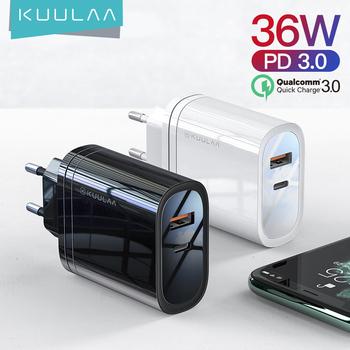 KUULAA-adapter USB przenośny adapter do ładowarka USB 36 W technologia Quick Charge 4 0 PD 3 0 USB-C tryb szybkiego ładowania do urządzeń iPhone Xiaomi tanie i dobre opinie USB PD Qualcomm szybkie ładowanie CN (pochodzenie) Typ C Podróży Ac Źródło KL-CD12