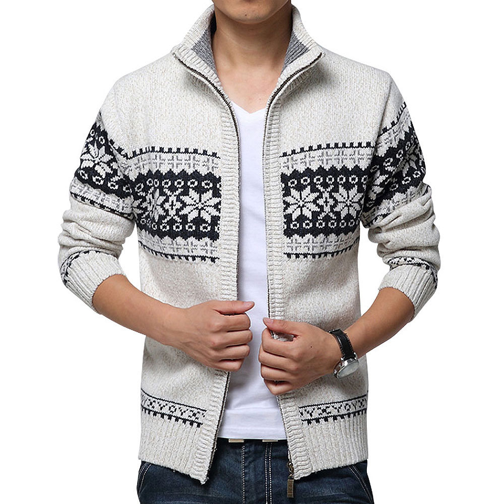 New Autumn Winter Men's Sweater Wool Men Mandarin Collar Solid Color Casual Sweater Men's Thick Fit Brand Knitted Cardigans