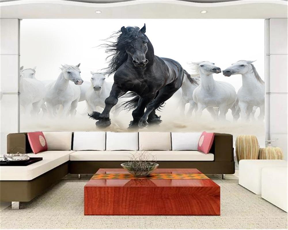 Image 3 - Custom 3d Mural Wallpaper European Style Eight Horse Figure TV Background Bound  Wall Painting WallpaperWallpapers   -