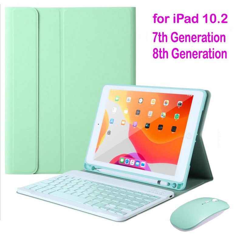 For iPad 10.2 Case with Keyboard for Apple iPad 10.2 2019 2020 7 8 7th Gen 8th Generation bluetooth keyboard Mouse Cover Cases