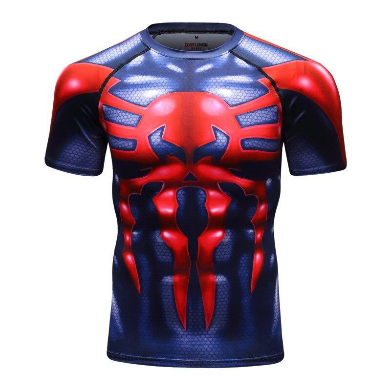 Mens Dri-fit Blue Compression Shirt Spiderman Sport T Shirt Short Sleeve