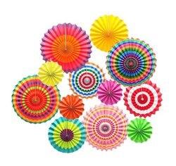 12pçs ventilador de papel de pendurar, pinça de papel colorida do círculo da carnaval para festa de aniversário casamento decoração de backdrop
