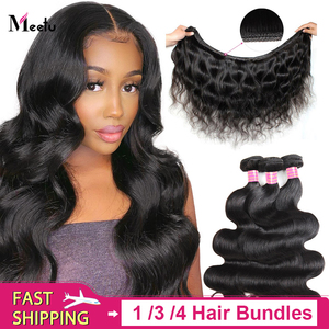 Meetu Body Wave Bundles 100% Human Hair 1/ 3/ 4 Bundles Deal Natural Color 8-28 inch Brazilian Hair Weave Bundles Non Remy