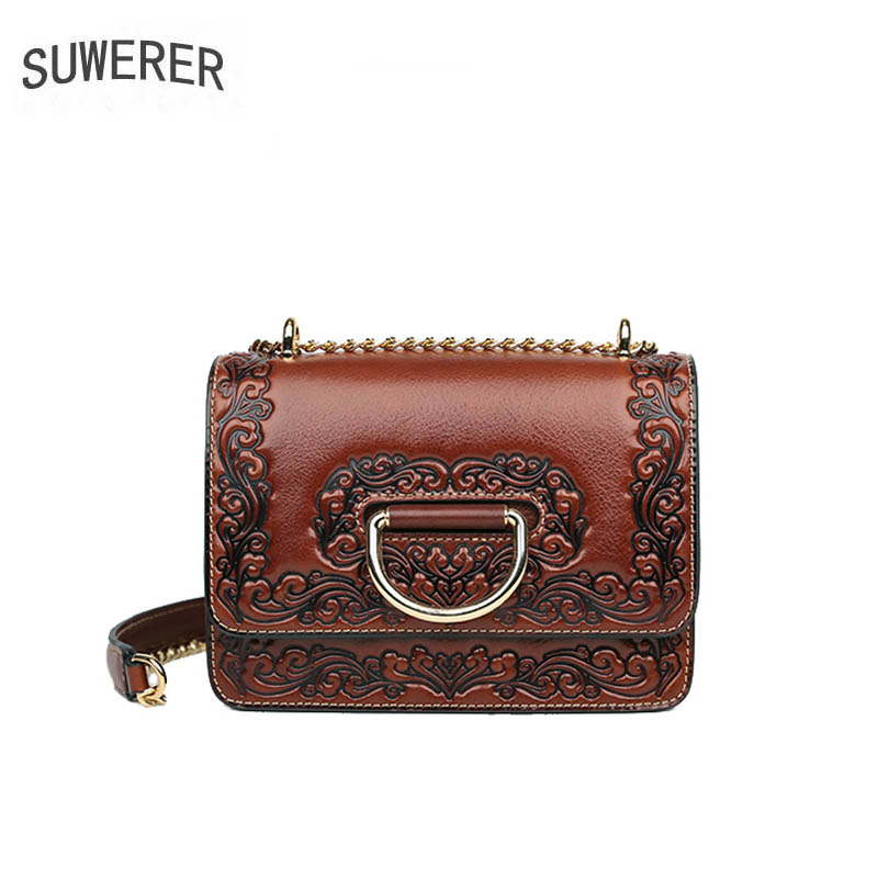 SUWERER2019 new cow leather top for women genuine bag embossed fashion fancy shoulder