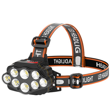 Most Bright 8 LED Headlight USB Rechargeable Headlamp High Lumen Head Lamp Light Waterproof Head Torch 70000Lumens Headlamps 6