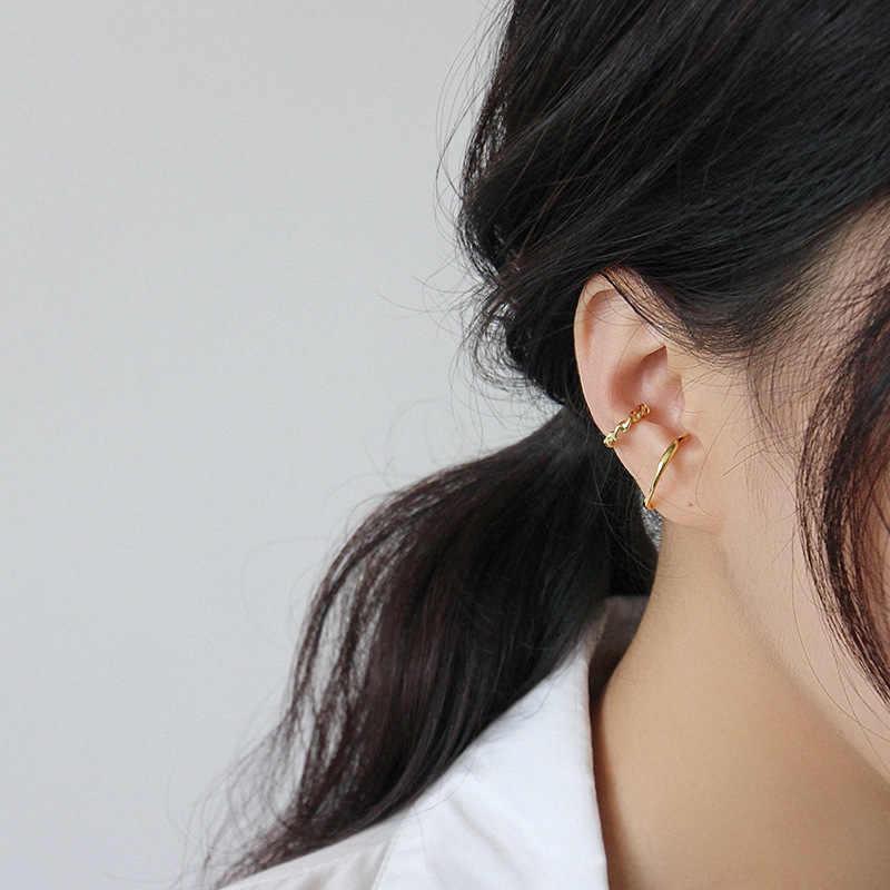 S'STEEL conciso Clip De oreja, Pendientes De Plata esterlina 925 Pendientes De botón Pendientes De Plata De Ley 925 para Mujer oro aros Aretes De Clip De joyería fina