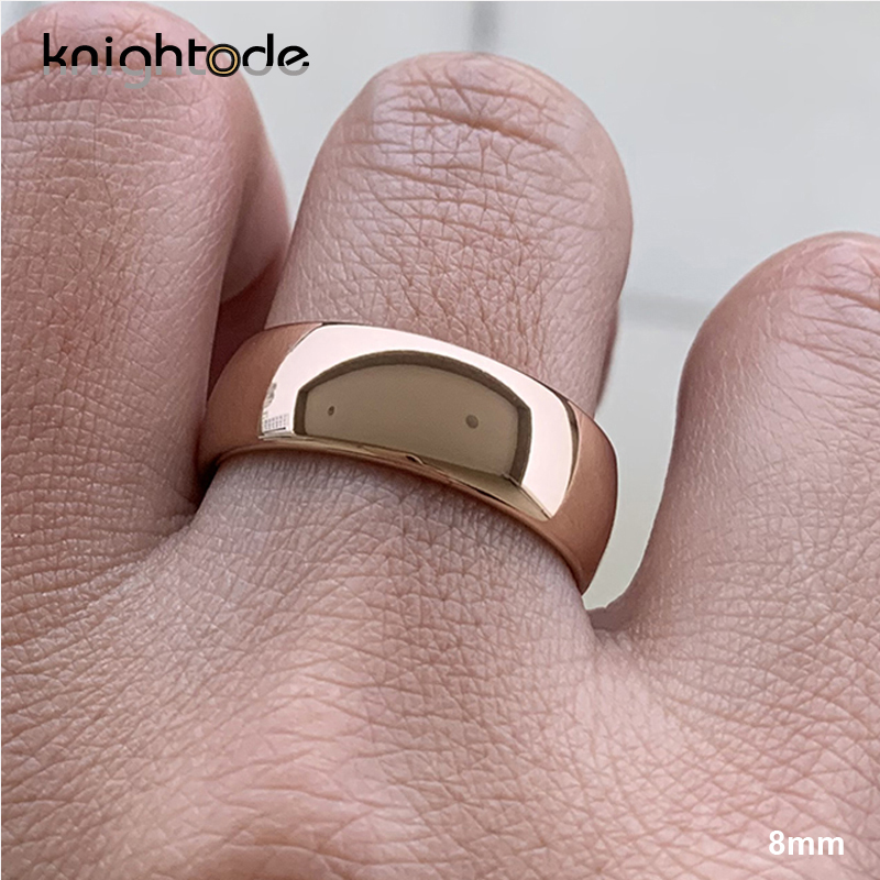Classic Rose Gold Tungsten Wedding Ring For Women Men Tungsten Carbide Engagement Band Dome Polished Finish 8mm 6mm Ring 2