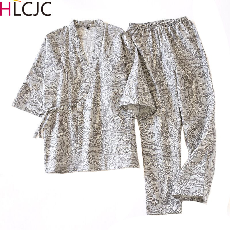 Autumn Male Pajamas Sets 100% Cotton Gauze Kimono Mens Sleepwear Japanese Style Pyjamas Men Soft Home Wear 2 Pieces High Quality