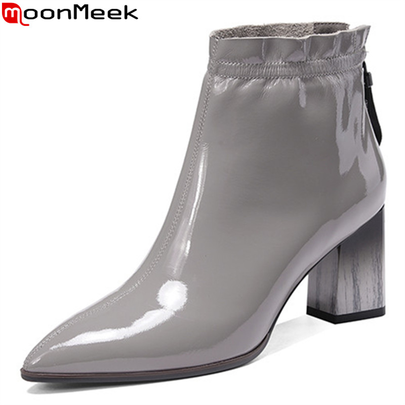 Genuine Leather Boots Women Pointed Toe