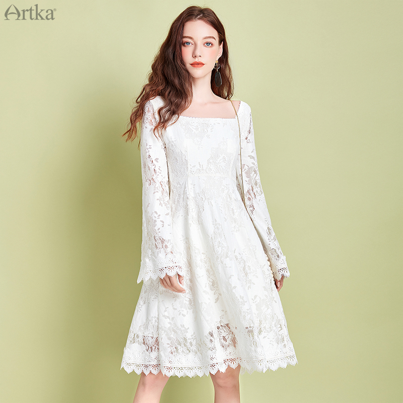ARTKA 2020 Spring New Women Vintage Lace Dress Embroidery Lace Flare Sleeve Elegant Square Collar White Princess Dress LA25107C image