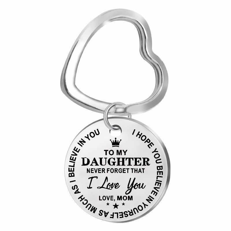 Modny breloczek ze stali nierdzewnej grawerowane do córki mojego syna na zawsze miłość mama brelok breloczki urok miłość wisiorek biżuteria na prezent