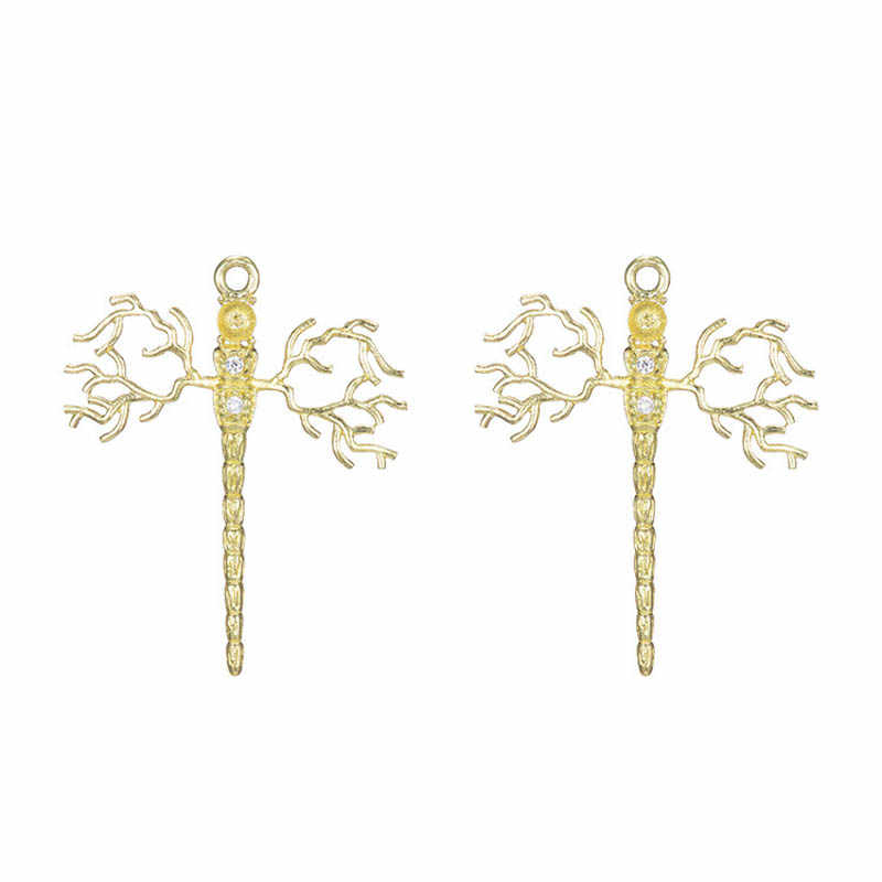 10pcs Drogonfly tree Branch Charms CZ Pendant High Quality Brass Metal Gold Silver Color DIY Dangle Hanging Earrings Making