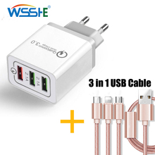 3 USB Charger Quick Charge 3.0 5V 2.1A For iphone Samsung Micro USB Type C Cable Fast Charging 1m 3in1 USB Cable Phone Charger harizma кисть для окрашивания широкая с комбинированной щетиной h10953 combo