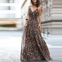 Robe longue à bretelles Sexy Pour Femmes, imprimé léopard, col en v, tempérament, élégante, à la mode, 2021