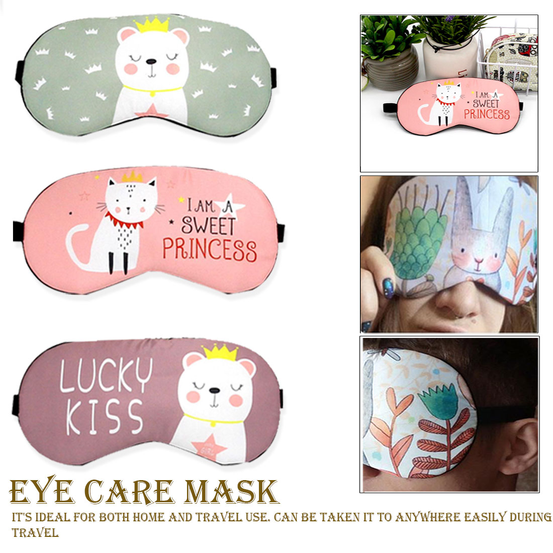Party Travel Relax Sleeping Aid Sleeping Mask Creative Lovely Cartoon Eye Masks Cat/Panda/Dog Eyepatch Eye Cover