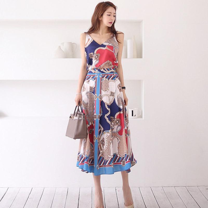 WOMEN'S Dress 2019 Summer New Products Korean-style Elegant V-neck Dungaree Shirt Medium-length Printed Big Skirt Two-Piece Set