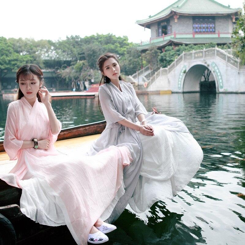 Yeni Hanfu giyim çin antik geleneksel kostümleri nakış oryantal çin tarzı antik halk dans peri Retro zarif