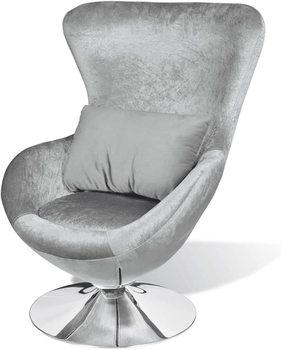 Fotel w kształcie jajka srebrny fotel obrotowy fotel wypoczynkowy krzesło klubowe fotel wypoczynkowy 64x64x86 cm tanie i dobre opinie CN (pochodzenie)