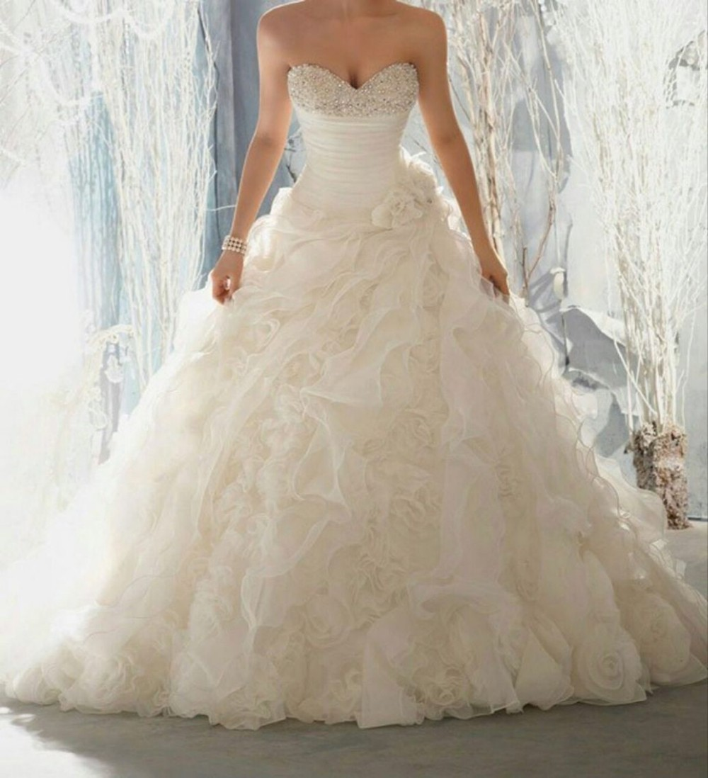 Elegant Design Sweetheart Beaded Sleeveless Ruffled Floral Wedding Bridal Dresses