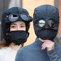 Gorro cálido de diseño original para hombre y mujer, gorros de invierno para mujer y niño, gorro impermeable con gafas, pasamontañas, 2020